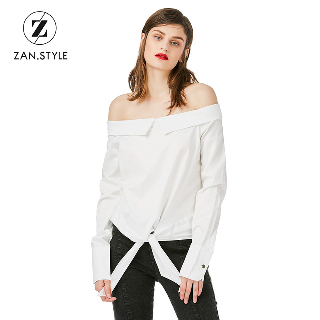 575af3a89c84b0 STYLE Women Off Shoulder Bow Knot Tied Blouse Sexy Slash Neck Long Sleeve  Ladies
