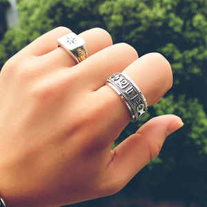 Image 5 - ZABRA Punk Jewelry For Men 925 Sterling Silver Spinner Ring Vintage Six Words Mantra Mens Signet Rings