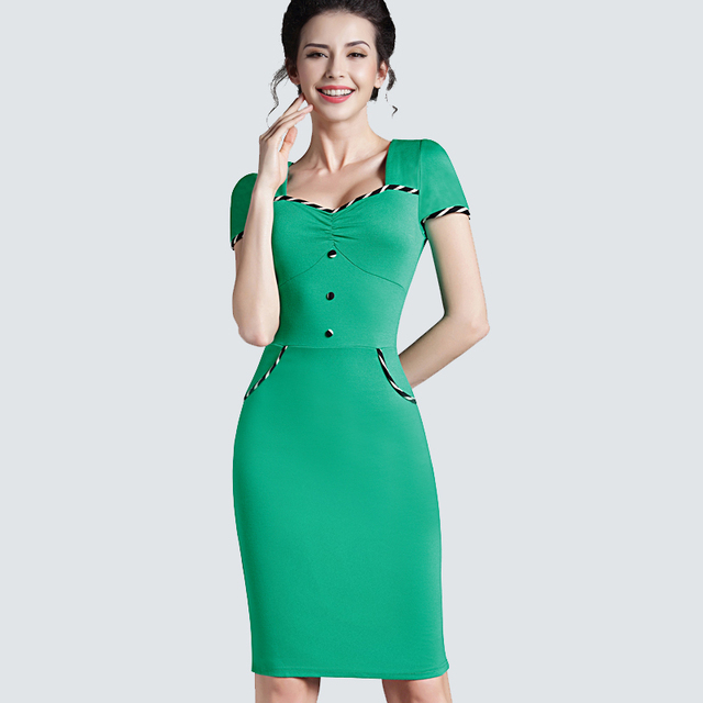 cf923f1a6253 Elegant Women Summer Patchwork Short Sleeve Bodycon Buttons Slim Fitted Pencil  Dress Casual Work Office Business Dress 729