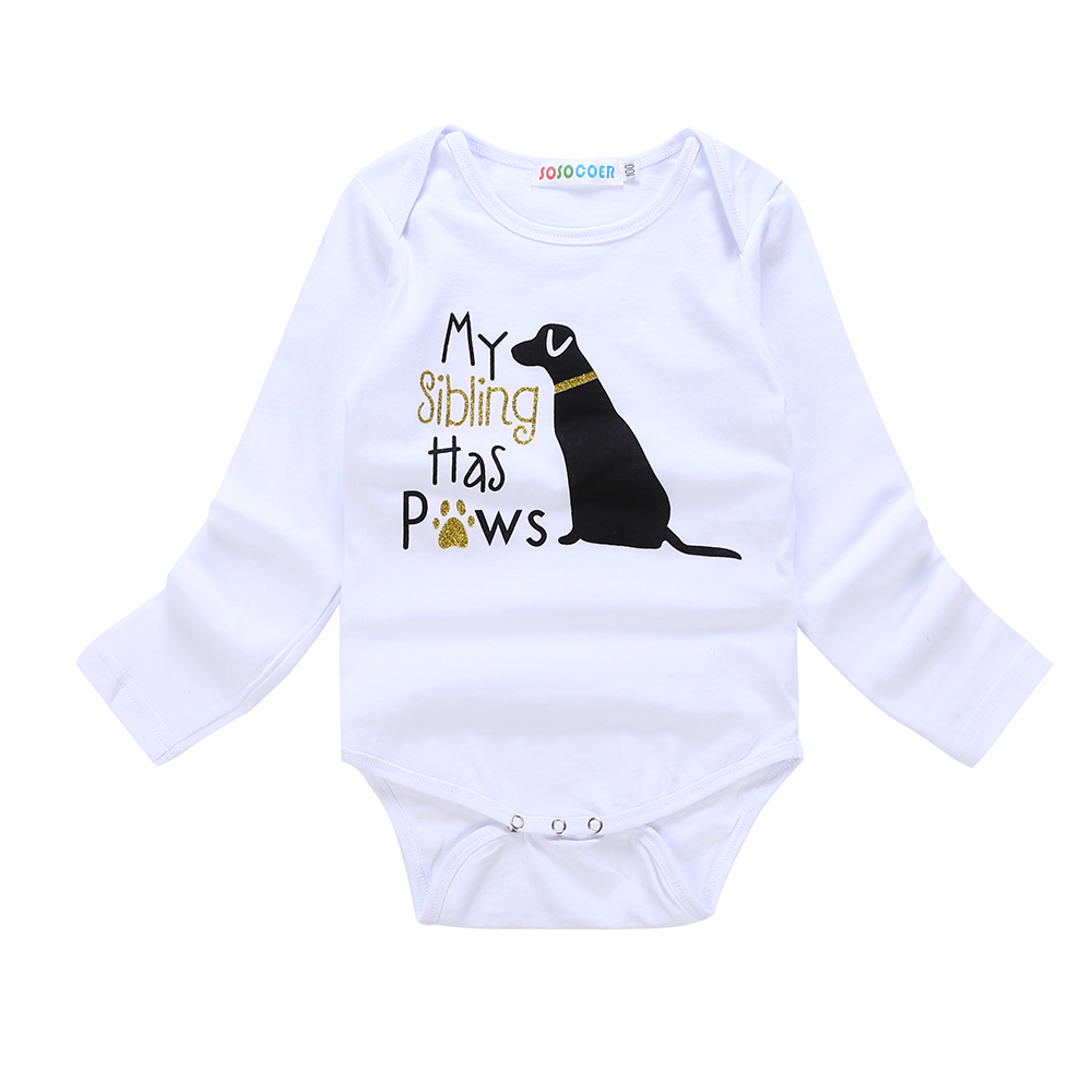 Long Sleeve Cotton Bodysuit for Baby Girls Boys Soft Singapore Dog Paw Jumpsuit