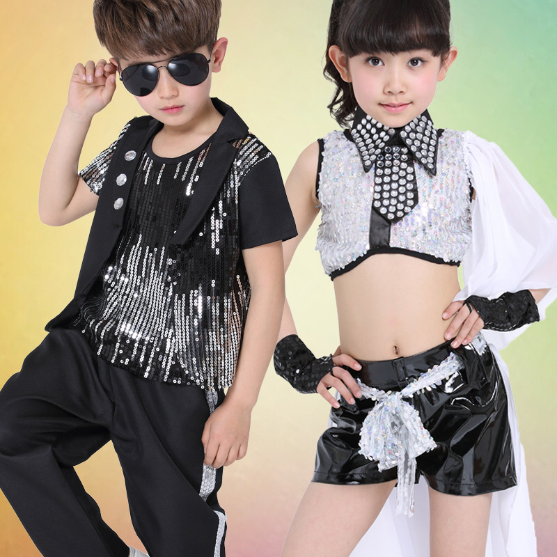 Free Shipping Black Sequin Kids Boys Girls Hip Hop Dancewear Jazz Costumes Stage Ballroom Competition Children Hiphop Clothes
