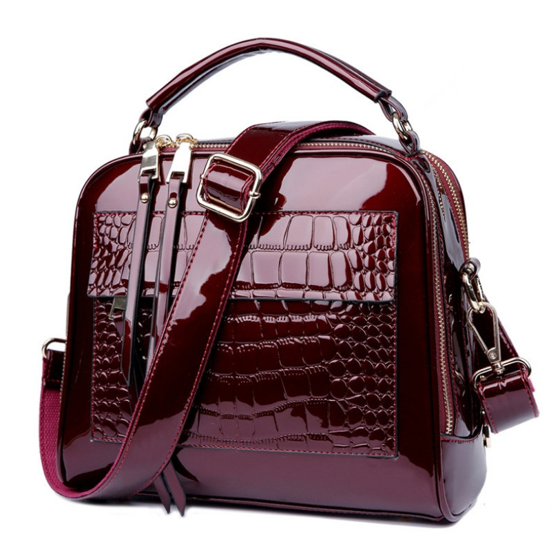Vintage Women Crocodile Patent Leather Handbag Fashion Design Shopper Tote Shell Bag Female Alligator Luxurious Shoulder Bags patent leather handbag shoulder bag for women