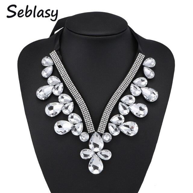 Seblasy Fancy Jewelry Long Black Ribbon Chain Shining Rhinestone Crystal Collar Necklaces Big Water Drop Choker Necklaces Women