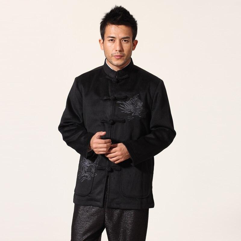 056c1365e0 Top Outono Inverno Preto Dos Homens De Veludo Casaco Bordado Tradicional  Chinesa Jacket Grosso Tang Terno Tamanho M L XL XXL XXXL MN024
