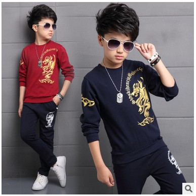 Teenage Kids 2017 Sports Casual Boys Clothing Set children Autumn big boy child long-sleeved T-shirt+trousers pants 3-15 yrs 2016 new children s clothing boys long sleeved t shirt large child bottoming shirt spring striped shirt tide