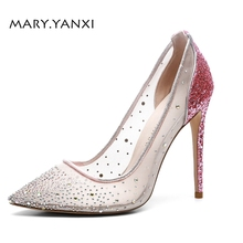 Women Pumps Big Size Shoes Pink Crystal Bling Mesh Transparent High Thin Heels Pointed Toe Fashion Party Sexy Slip-On Shallow women pumps big size shoes gold crystal bling mesh transparent high thin heels pointed toe fashion party sexy slip on shallow