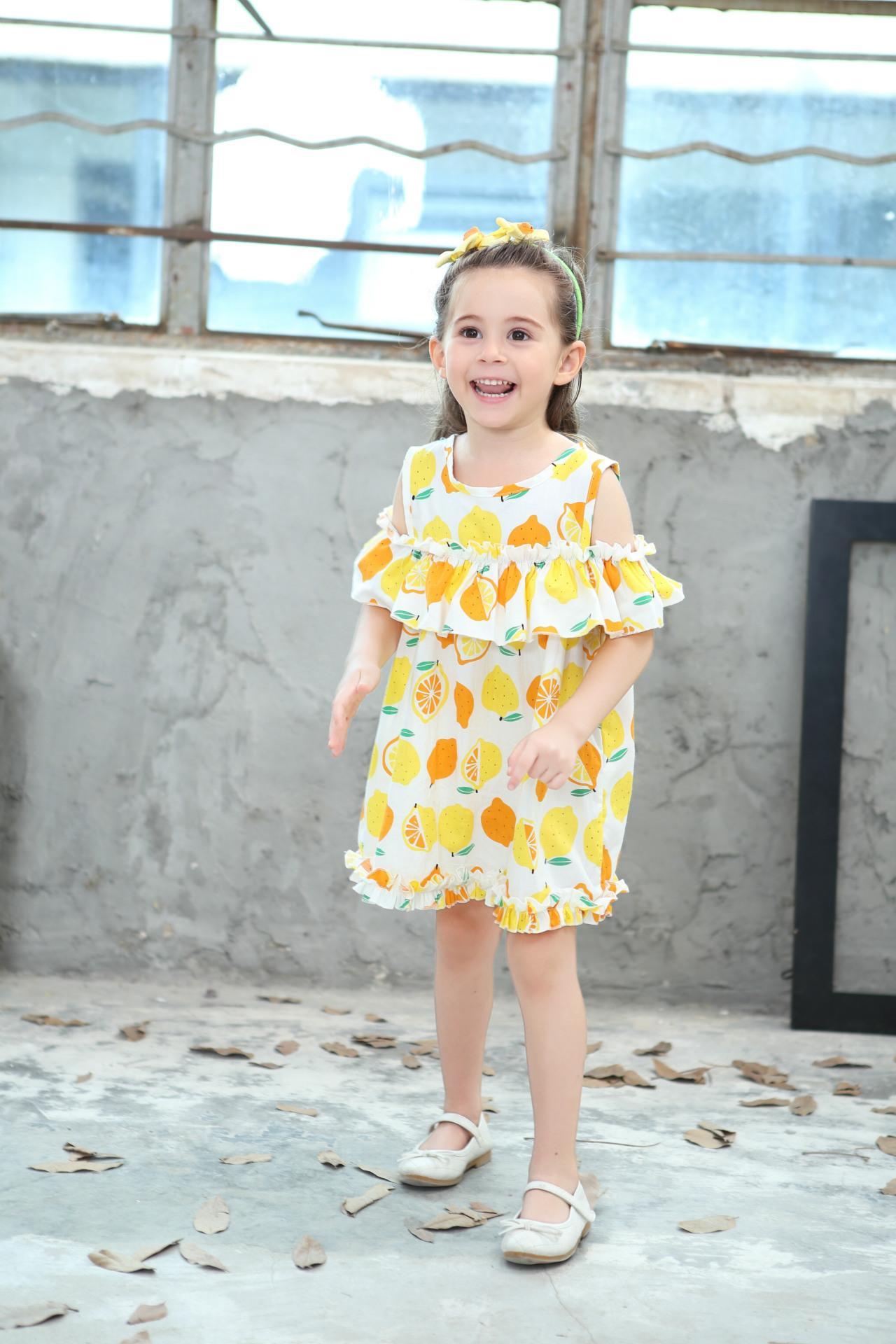 Lemon Printd Girls Dress 2018 New Summer Fashion Children Princess Dress Kids Children Clothes For 2 3 4 5 6 7 8 Years 2