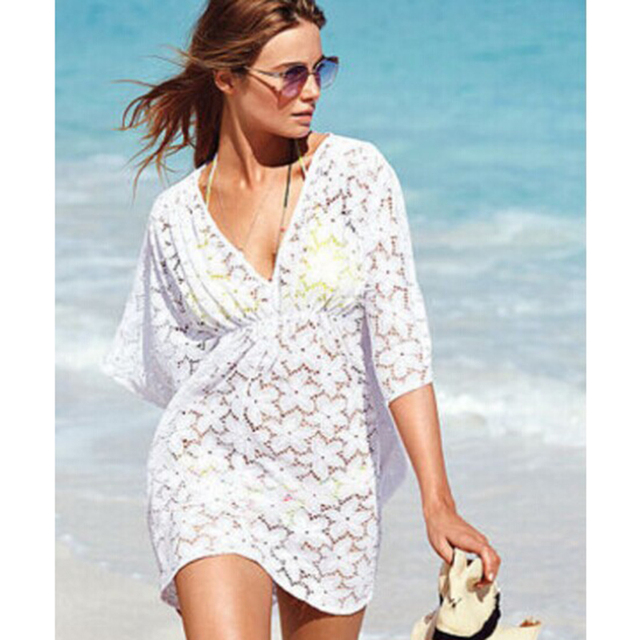 Beach Dress Women Summer Sexy Lace V-Neck Elegant Perspective Dresses vestidos femininos White Beach Dress