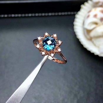 shilovem 925 silver sterling rings real natural London Blue topaz plant new open trendy fine Jewelry wedding 6*6mm mj0606078agb