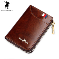 WILLIAMPOLO Fashion ID Card Holder 100% Real Leather Zipper Wallet for Credit Cards Card Case PL185128