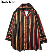 Dark Icon Striped Shirt Men Three Quarter Sleeve Mens Shirts 2019 Street 3Colors