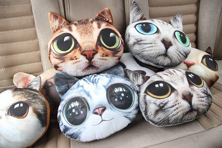 Милые 3D Cat плюшевые шеи мультфильм автомобиль голова и тела подушку поддержки сиденья подушка для шеи Новый очистить воздух запах rmoval