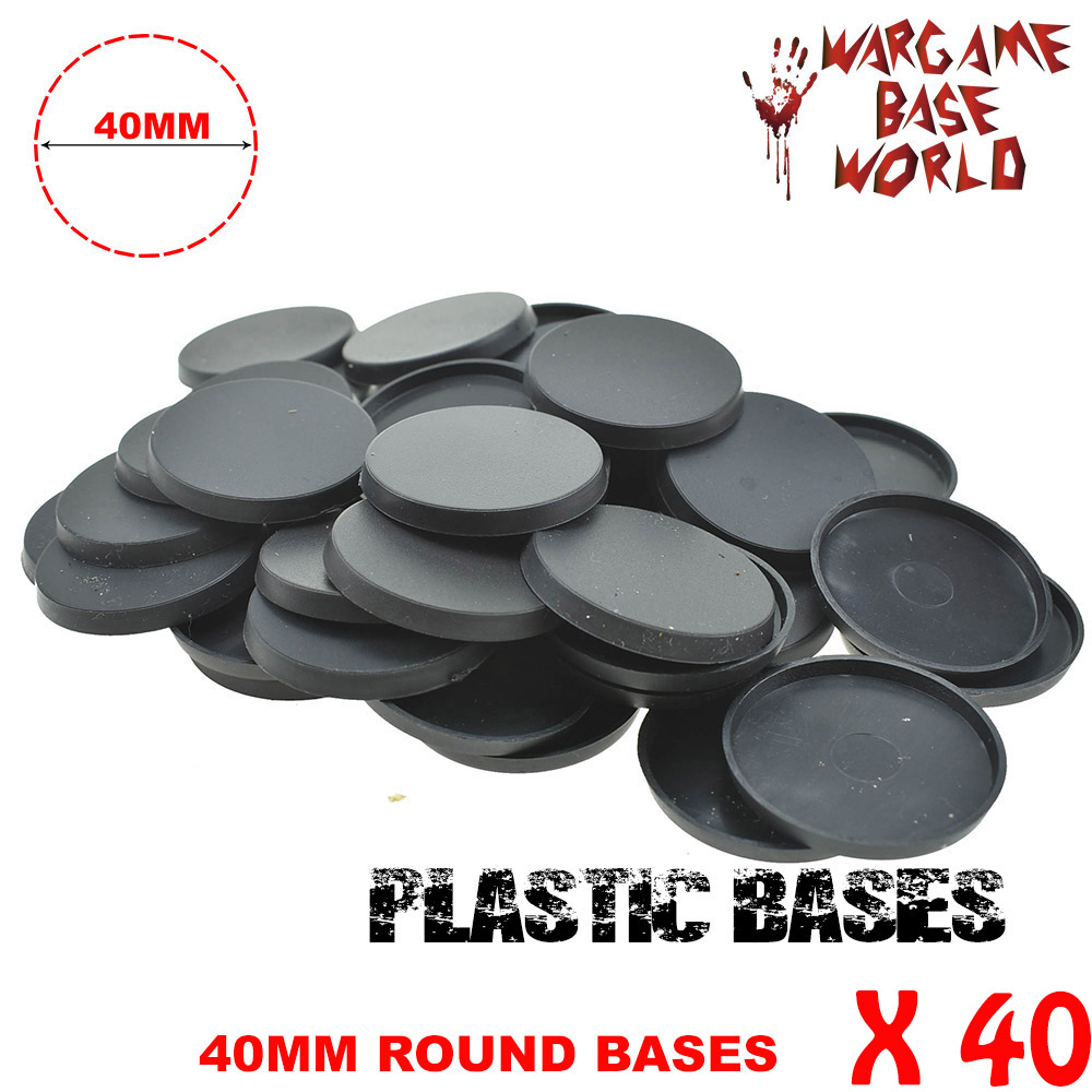 Plastic Round 40mm Bases For Miniatures And Wargames X 40pcs