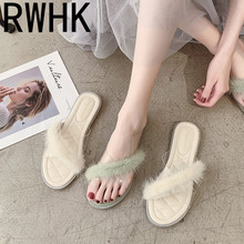 RWHK Slippers women wear 2019 summer new Korean version of the flat cross hairy transparent belt word slippers beach shoes B502