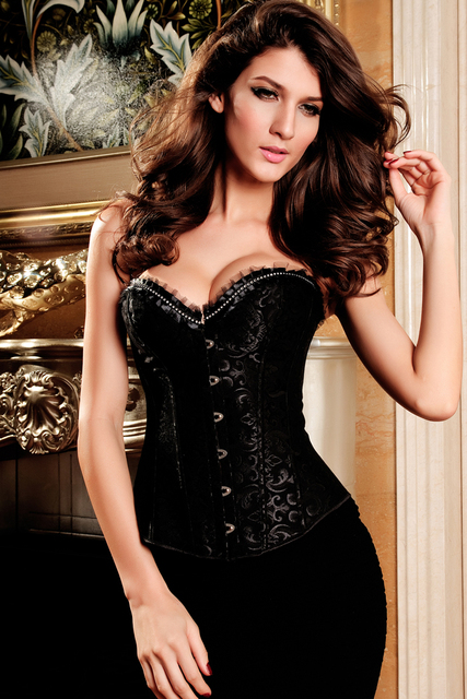 plus size sexy  Rhinestone Embellishment Brocade Corset women bustier underwear LC5281 new 2015 corselet crop top
