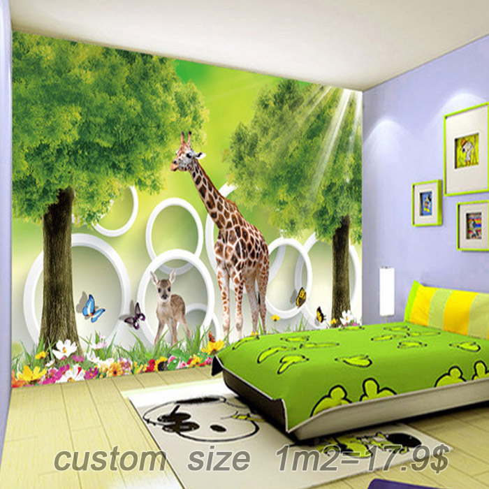 Free Shipping Cartoon Childrens Room Bedroom Wallpaper Backdrop Boys And Girls Castle Large Mural Trees Giraffe Custom Size In Wallpapers From Home