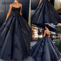 Quinceanera Dresses 2019 Vintage Ball Gown Dark Navy Blue Spaghetti vestido de 15 anos debutante Sweet 16 Dress ballkleid Satin