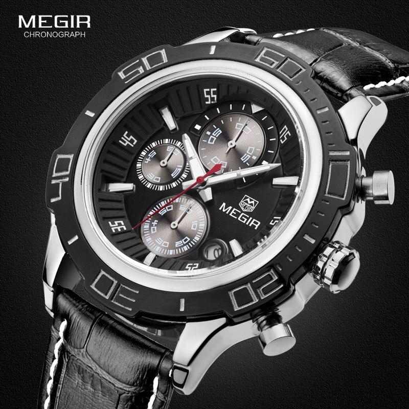 Megir Herren Chronograph Luminous Quarzuhren Fashon Mans Analog Runden Zifferblatt Lederband Wasserdichte Armbanduhr für Männer 2019