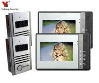 DHL Freeshipping Video Door Phone Intercom 7 LCD Full Color Doorbell Intercom Kit 2 Camera 2