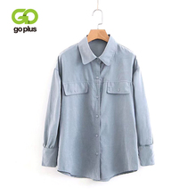 GOPLUS 2019 Spring White Blouse Women Cotton Turn-down Collar Long Sleeves Shirts Ladies Vintage streetwear Clothes Female Tops girls plaid blouse 2019 spring autumn turn down collar teenager shirts cotton shirts casual clothes child kids long sleeve 4 13t