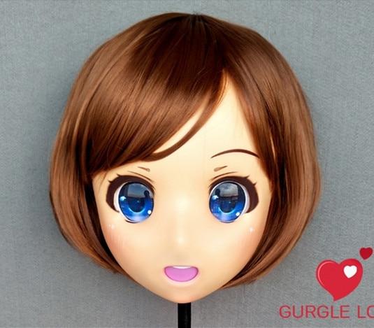 Costumes & Accessories dm152 Female Sweet Girl Resin Half Head Kigurumi Mask With Bjd Eyes Cosplay Japanese Anime Role Lolita Mask Crossdress Doll Non-Ironing