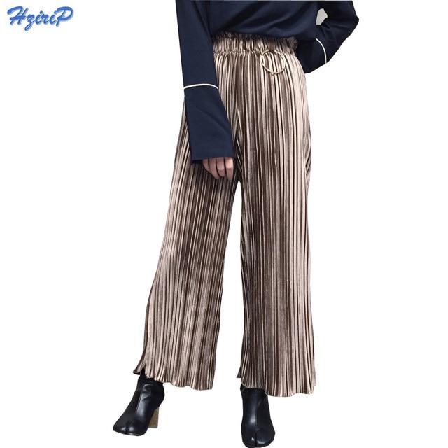 Winter Pants Corduroy Velvet Pleated Wide Leg Pants Women Loose Casual  Pants Female High Waist Ladies Pant 2017 Spring Trousers ac8353688b1