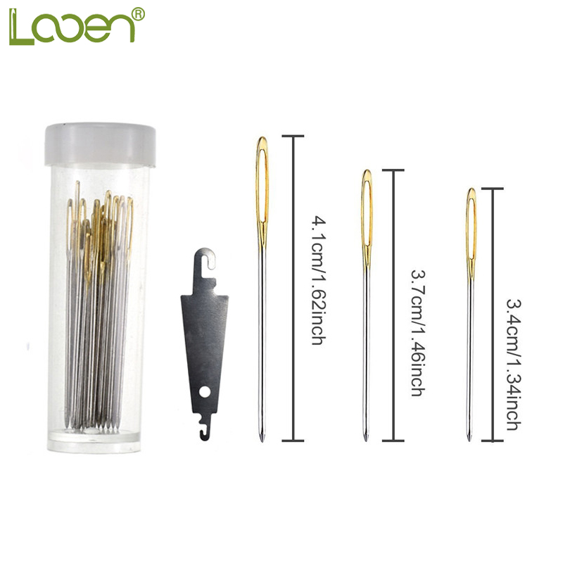 Looen 30pcs Mix Size Large Eye Sewing Needles Cross Stitch Stainless Steel Hand Sewing Needle with Threader Home DIY Sewing Tool in Needles from Home Garden
