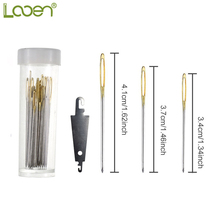 лучшая цена Looen 30pcs Mix Size Large Eye Sewing Needles Cross Stitch Stainless Steel Hand Sewing Needle with Threader Home DIY Sewing Tool