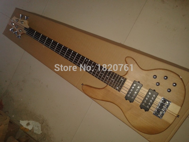 New Arrival Nature Wood Matte Paint One Piece Maple Neck through Body 9V Active Pickup W 5 String Electric Bass Guitar   14510New Arrival Nature Wood Matte Paint One Piece Maple Neck through Body 9V Active Pickup W 5 String Electric Bass Guitar   14510