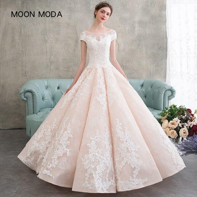 Half Sleeve Lace Wedding Dress 2018 Luxury Bridal Gown Princess Plus