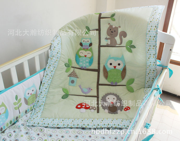 Hy Owls And Friends Cute Baby Bedding Set 7pcs Cot Embroidered Quilt Per Sheet Dust Ruffle For Boy Bed Kit