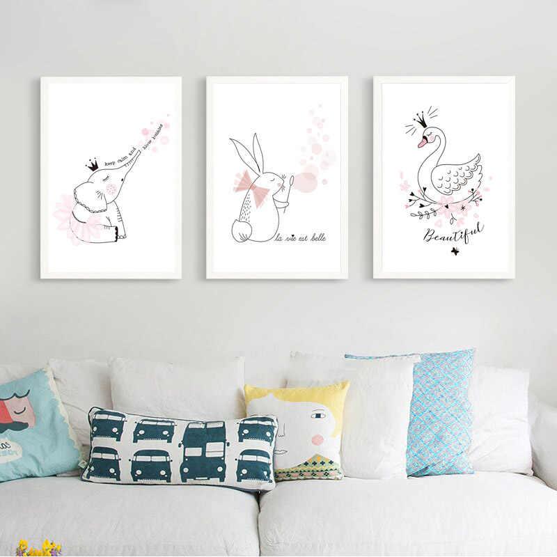 Картины на холсте мультфильм животное лебедь Принцесса кролик Пузырь Стены Искусство Северный плакат печать HD картинки для детской комнаты домашний декор