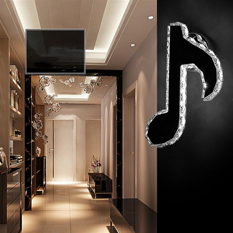 цена на Crystal Bedroom Mount Light Fixture Note Shaped LED Living Room Minimalist Wall Sconces Light KTV Bar Decoration Wall Lamp