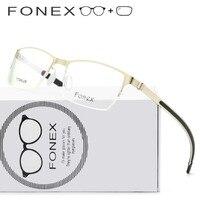 Alloy Silicone Prescription Glasses with Lenses Eyeglasses Men Semi Rimless Half Frame Myopia Optical Eyewear 981