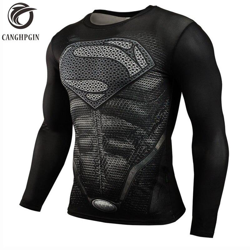 2018 Superman Punisher Rashgard Running Shirt Men T-shirt Long Sleeve Compression Shirts Gym T Shirt Fitness Sport Shirt Men Рубашка