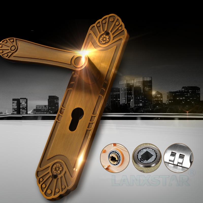 ФОТО Luxury Zinc Alloy Double Tongue Mute Bearing Interior Door Lock European Style Mechanical Handle Locks