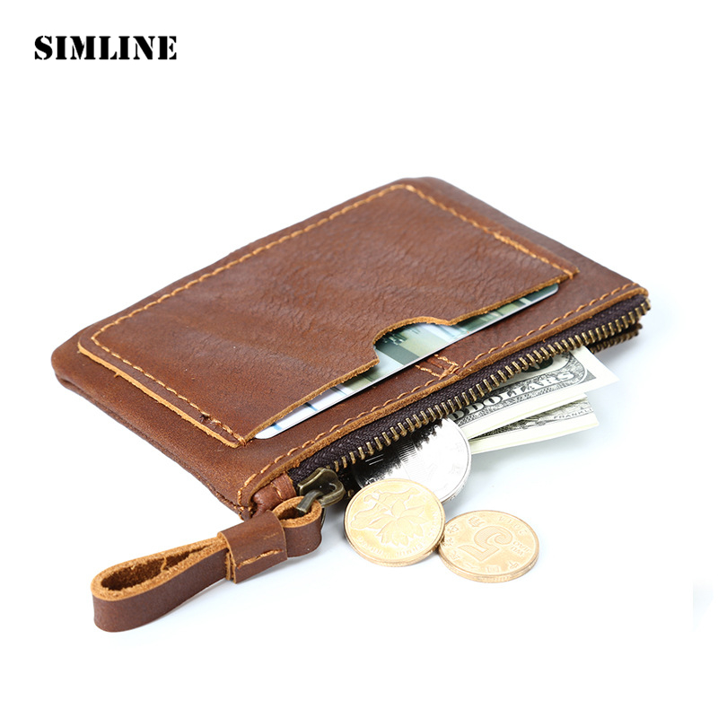 SIMLINE  Vintage Genuine Leather Cowhide Men Male Short Slim Mini Thin Zipper Wallet Wallets Purse Card Holder Coin Pocket Case