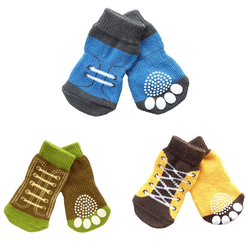 Anti-slip Cotton Knit Socks Skid Bottom Pet Small Dog Puppy Warm Soft Socks 4Pcs/set Socks Shoes