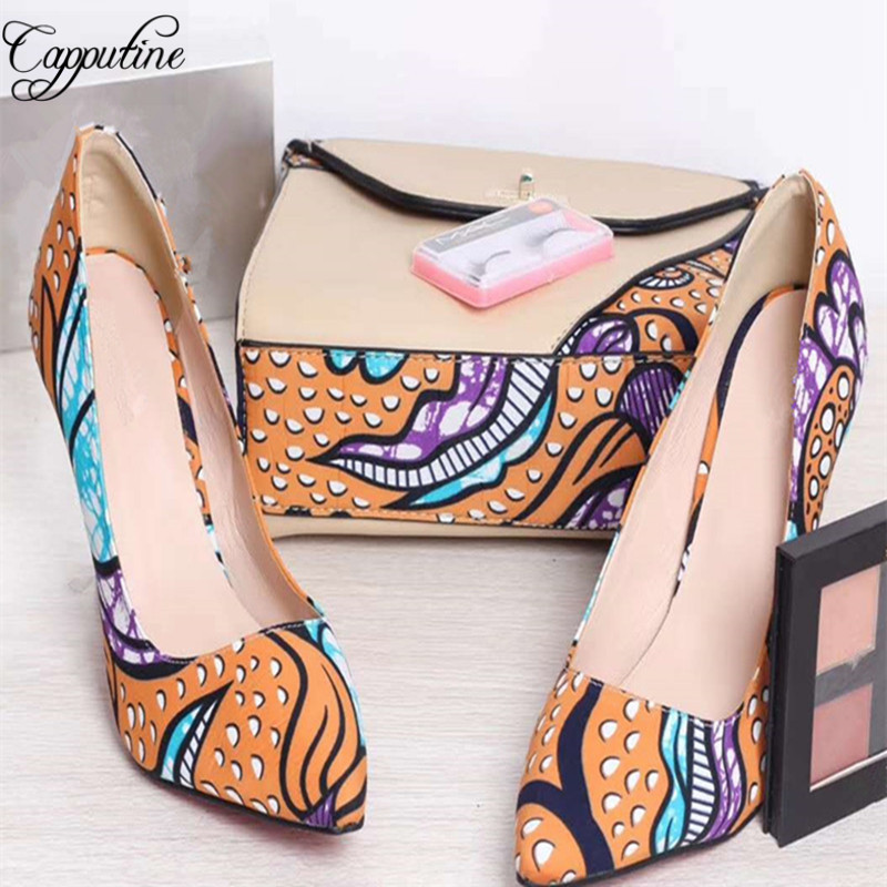 Capputine 2018 Fashion Wax Fabric Made Shoes And HandBag Set New African High Heels 10CM Shoes And Bag Set For Party G58 fashion rabbit and grass pattern 10cm width wacky tie for men