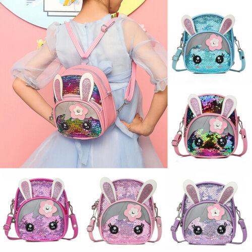 Cute Kids Toddler Girls Sequin Rabbit Glitter Bling Schoolbag Backpack Travel Handbag Shoulder Bag Satchel