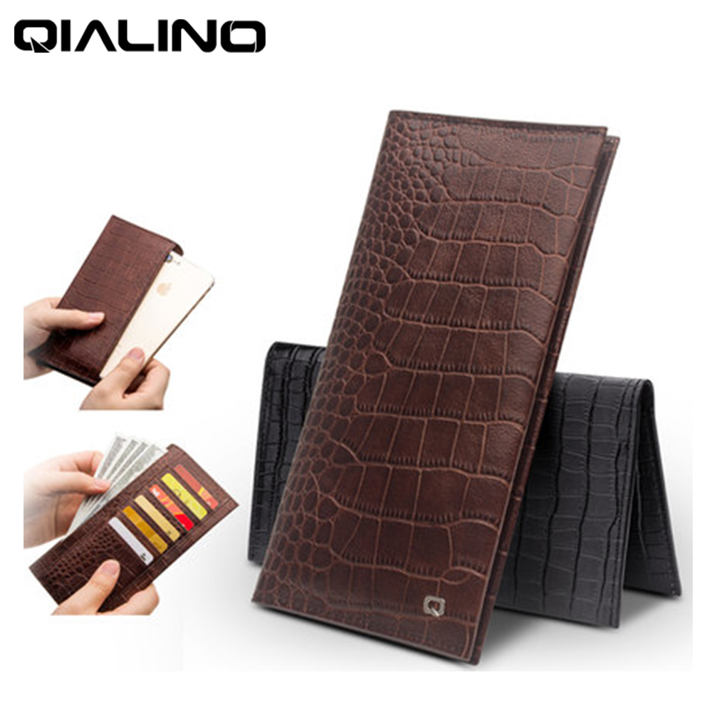 """QIALINO Fashion Multi function Wallet Case for Apple iPhone7 4.7"""" Luxury Top Layer Cow Genuine Leather Cover Bag Clutch Sleeve-in Flip Cases from Cellphones & Telecommunications    1"""