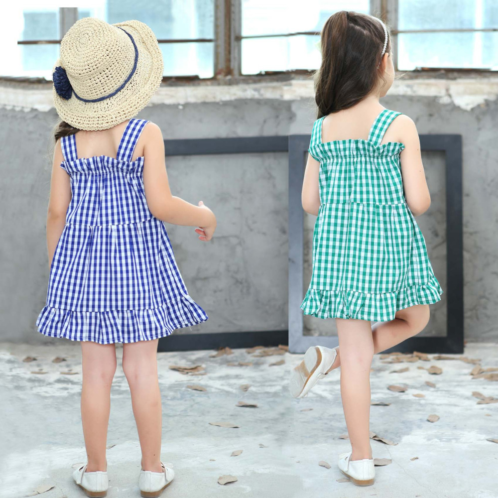 Baby Girls Summer Plaid Dress Children\'s Clothing Ruffles Cropped ...