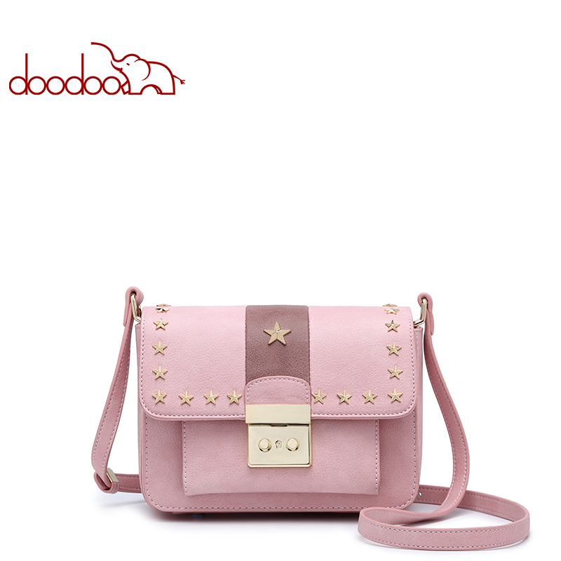DOODOO Brand Fashion Women Bag Female Shoulder Crossbody Bags Ladies Artificial Leather Rivet New Small 3 Colors Messenger Bags new high quality warm winter baseball cap men brand snapback black solid bone baseball mens winter hats ear flaps free sipping