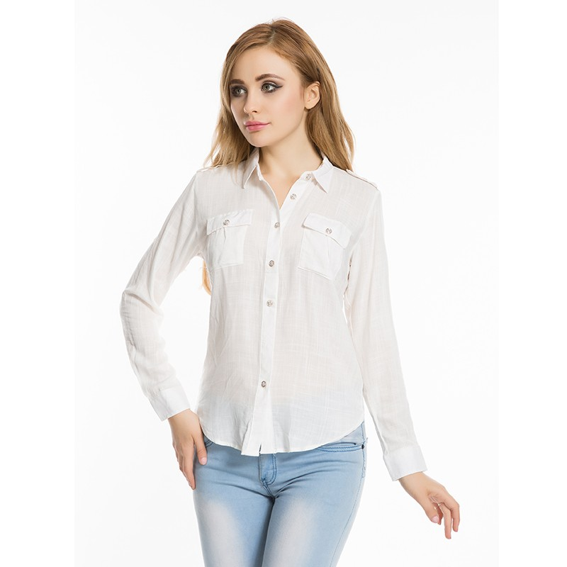 Brand Summer Women Tops And Blouses 2016 Ny Kortærmet Shirt Nedtrædende Collar Casual Solid Blouse Camiseta Mujer Fire Farver