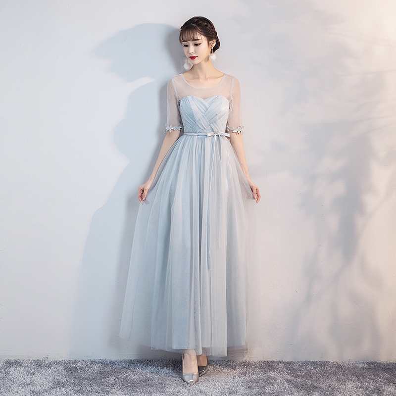 Blue Grey Colour Dress Wedding Guest Dress  Bridesmaid Dresses Short Sleeves  Empire  O-Neck