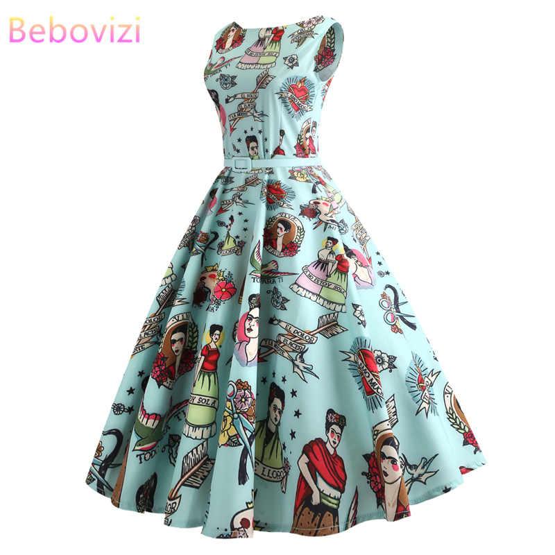 Bebovizi 2019 verão novas mulheres casuais plus size vintage a linha vestidos sem mangas floral impressão elegante festa sexy vestido bandagem