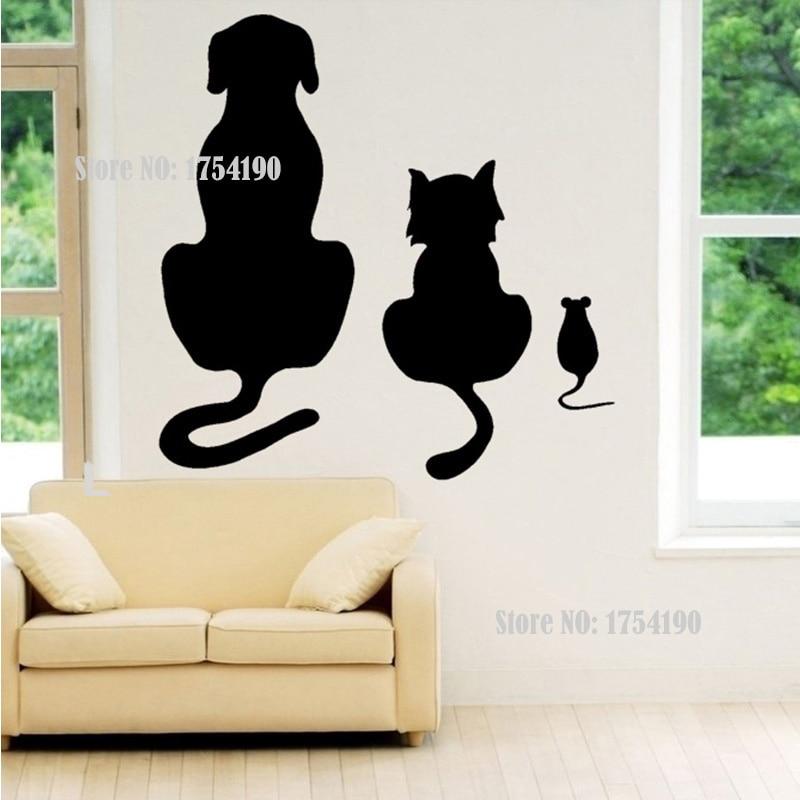comprar perros gatos y un ratn art etiqueta de la pared animal vinilo mural rs de mural poster fiable proveedores en rose fashion club