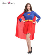 Umorden Pretty Superwoman Super Woman Cosplay Man Costume Female Fancy Dress Purim Holiday Party Halloween Costumes