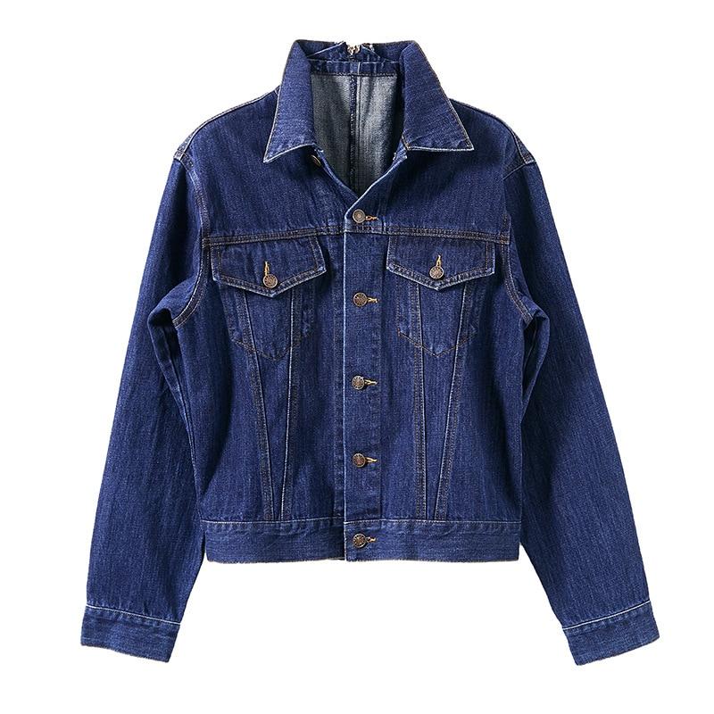 Unique Coton Manches Vestes 2018 Automne Bleu Nouvelles Femmes Jeans Down Poitrine 100 Droite À Turn Longues Manteaux CgTTndfq