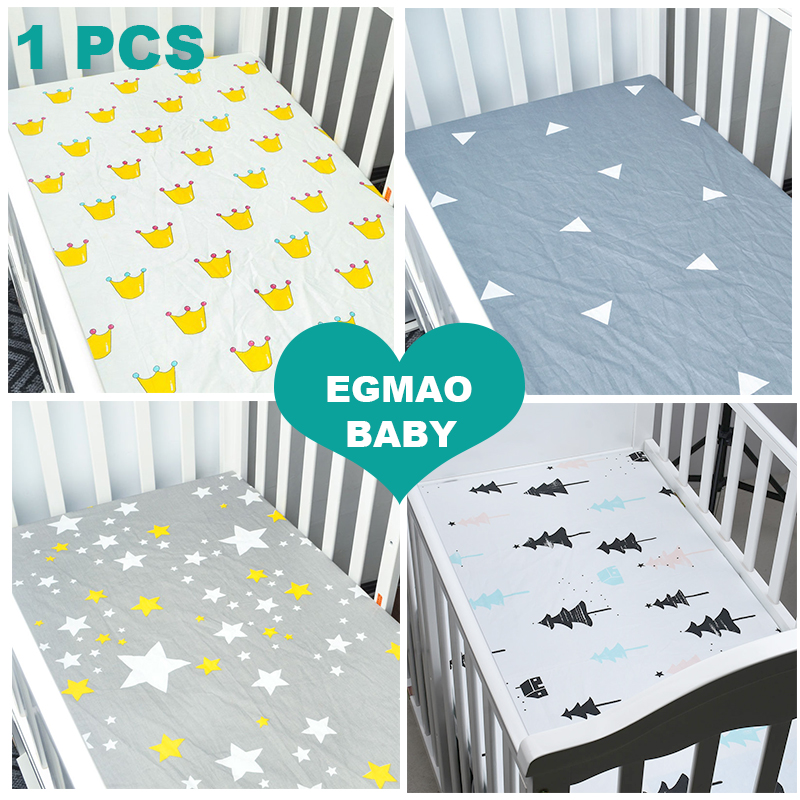 EGMAOBABY Fitted Baby Crib Sheet Printed 100% Cotton Nursery Bedding for Boy or Girl, Toddler Bedding ,Perfect Baby Shower Gift цены